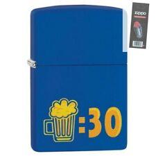 Zippo 29869 Beer 30 Design Royal Blue Finish Lighter + FLINT PACK