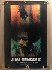 Original Vintage Poster 1970s Jimi Hendrix Memorial pinup music memorabilia