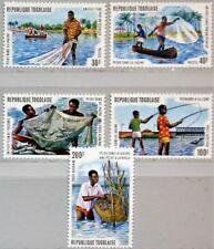 TOGO 1974 1040-44 A 876-77 C224-26 Lagoon Fishing Fischerei Fish Fische MNH