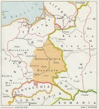 C2938 Polonia - Confine del 1938 - Mappa d'epoca - 1943 vintage map
