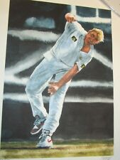 Shane Warne (Australia) unsigned art print  (A3 size) signed by artist