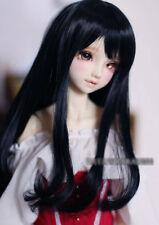 "6-7"" 1/6 BJD Black Long Buckle Hair End Wig LUTS Doll SD MSD Iplehouse Hair UAL#"