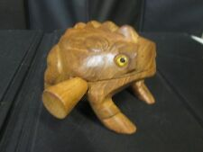 """5"""" Hand Carved Wooden Croaking Frog - Makes A Percussion Sound like Croaking"""