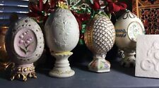 Cybis Porcelain Lot Of Four Eggs 1983 -1986 Perfect For Easter Mint Condition