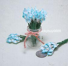 50 Blue Rim Arum Calla Lily Scrapbook Craft Mulberry Paper Flower Wedding Card
