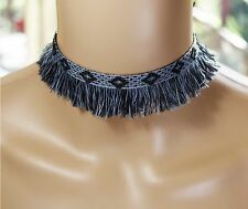 Choker Necklace Aztec Design Fringe Black Grey Surf Festival Australia Made