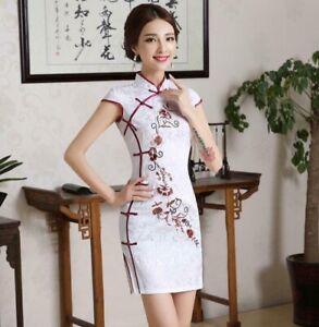 Ladies Chinese style Evening Dress Cheongsam Short Sleeve Women's Midi Chirpaur