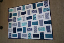 Handmade Quilt  Blue & White 51 x 37 Quilt Machine Quilted Baby Blanket LapThrow