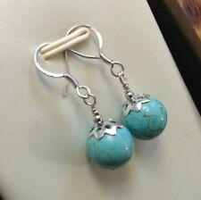 9mm Turquoise & 925 Sterling Silver - Drop Dangle Hook Earrings