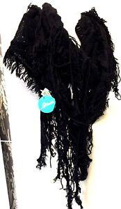Boho hippy goth BLACK tassel knit LETTUCE OF LONDON scarf wrap pashmina gift NEW