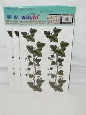 Wall Art Self Adhesive Decals Green Ivy  Washable Fade Resistant New Lot of 3