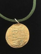 "Gold Doubloon Coin WC36 Gold Fine English Pewter On a 18"" Green Cord Necklace"