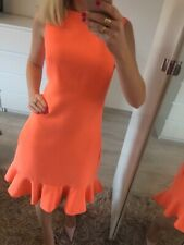 🌸 Ted Baker Size 1 Uk8 S Dress Straight Pencil Orange Ruffle Prom Smart Sexy