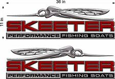 """SKEETER Boats 3D Logo / PAIR / 36"""" RED Vinyl Vehicle Graphic Decal Stickers"""