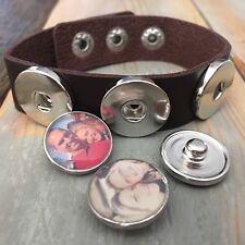 Personalized photo snap 3 charm bracelet charm noosa ginger 18mm leather cuff