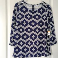 Crown & Ivy Womens Small Top Navy And Gray 3/4 Sleeves New With Tags