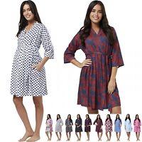 Zeta Ville Women's Maternity Nursing Printed Labour Dressing Gown Robe 629p