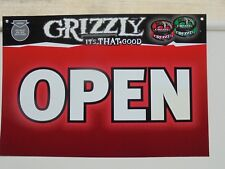 "GRIZZLY SNUFF OPEN/CLOSE PLASTIC SIGN  ""NEW/UNUSED"""