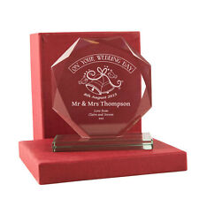 Personalised Engraved Wedding Cut Glass Gift for the Bride & Groom, Satin Box