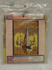 "R&D Creations Sailboats Latch Hook Rug Rg-112 Printed Canvas 24""x26"" Sail Boat"