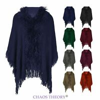 Ladies Womens Ruffle Tassel Warm Cape Knitted Poncho Wrap Jumper Shawl One Size