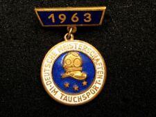 More details for rare gdr east german brass pin badge german championship in diving sport 1963