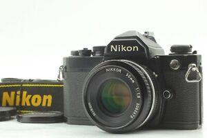[N MINT w/ Strap] Nikon FM SLR Black Model + Nikkor Ai-s 50mm f/1.8 From JAPAN