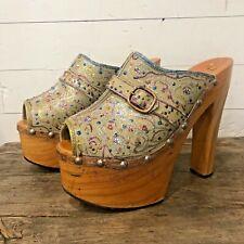 Vintage 70s Platforms Shoes High Heel Sandals Peep Toe Disco Sparkle Glitter