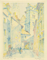 SYBIL ANDREWS, 'RUE DU HALLAGE - ROUEN', rare signed color monotype, c. 1925