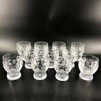 "Vintage Set of 11 Cut Crystal Etched Cocktail Juice Glasses Barware 4"" Tall"