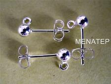 S/Silver Stud Earring Ball Posts and Backs (8 Sets = 8 posts+8 backs)