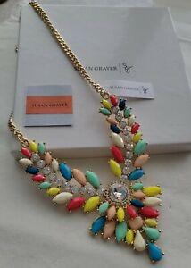 QVC Susan Graver Multi Color Stone Statement Necklace NEW ☆WOW☆