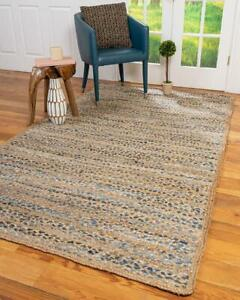 9x12 feet square hand braided bohemian colorful jute ,cotton and denim area rug