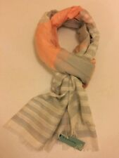 DICKINS & JONES SCARF in CORAL AND GREY STRIPE Scarf Shawl Wrap New with Tags