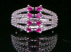 Cubic Zirconia Four Lane Ruby Designer Ring White Gold plated 12 RR 17