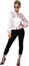 Smiffys Grease Ladies Jacket with Embroidered Logo, Size L - Pink