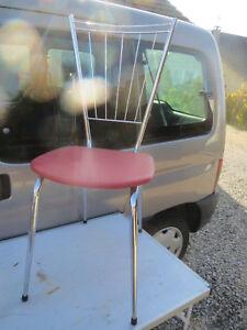 Chair Antique Iron Chrome Sitting Vinyl Skai Red Years 60/70 Vintage