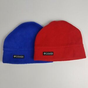 Columbia Toddler OSFA Red And Blue Lot Of 2 Winter Beanie Hats Hat Polyester