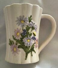 Daisies Otagiri Japan 3D White Porcelain Pink Blue Coffee Mug Vintage Victorian
