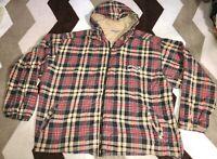 Vintage Quiksilver Full Zip Up Hoodie Jacket Plaided Mens Sz XL Rare