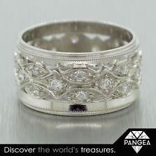 Antique Art Deco 14k White Gold Diamond Wide Eternity Band 0.40ctw Size 6.5