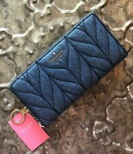 KATE SPADE~NEDA Briar Lane QUILTED DENIM Zip Around Wallet~BLUE DENIM~ $189~BNWT