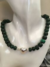 """19"""" Chunky Natural Malachite Necklace Sterling Silver Puffy Heart Box Clasp"""