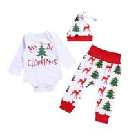 #QZO 3pcs Christmas Newborn Baby Boy Girl Letter Romper Tops+Deer Pants+Hat