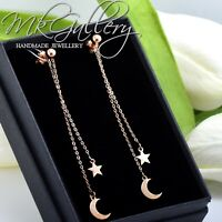 925 STERLING SILVER EARRINGS STUDS MOON STAR - ROSE GOLD PLATED