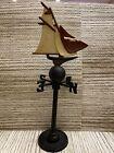 Vintage Sailboat Schooner Nautical Lake Cabin Table Top Weather Vane Cast Iron