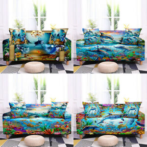 1/2/3/4 Seater Marine Life Stretch Elastic Couch Sofa Cover Slipcover Protector
