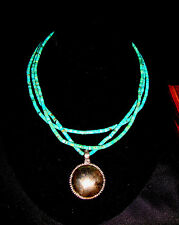 """Three(3) Strand Turquoise 2mm Heishi Bead 17-1/4"""" Necklace .925 Sterling Silver"""