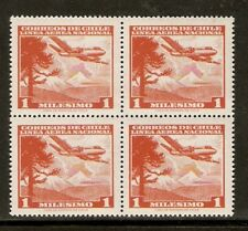CHILE 1960 AIR MAIL STAMP # 612 MNH BLOCK OF FOUR AIRPLANE