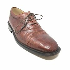 Men's Stacy Adams Oxfords Dress Shoes Size 8.5 Brown Full Crocodile Embossed D10